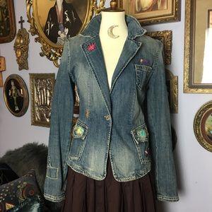Miss Me Denim Jean Embroidered Patch Jacket L